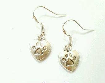 Paw print earrings, dog paw earrings, animal print earrings, animal print jewelry, animal lover jewelry, paw print jewelry, gift for vet