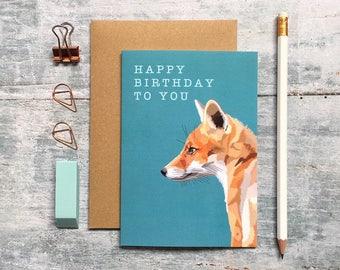 Fox Birthday Card - Fox Card - Birthday Card - Animal Card - Woodland Animal - Fox Art - Cute Fox Card - Fox Greeting Card - Fox