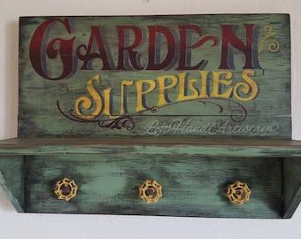 Antique Wood Garden Supplies Shelf Sign! Free-handed! Vintage. Primitive. Trade sign. Garden art. Yard art. Garden decor. Storage.