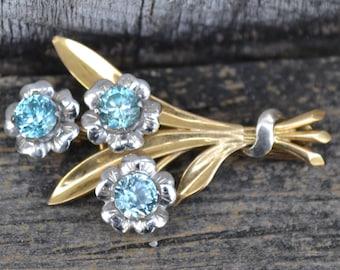 Vintage Blue Zircon Brooch  10k Gold