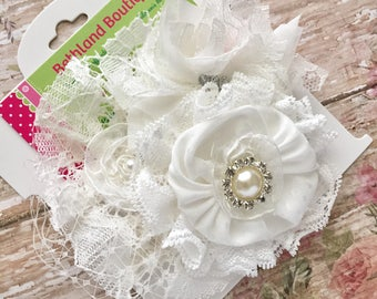 Off White Vintage hair bow-off white couture lace flower girl hair bow -off white christening fabric bow-off white lace baptism hair bow-