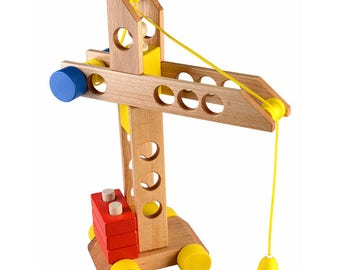 Lifting crane on a string - Learning Toy - Montessori toddler toy - Toddler birthday gift - Wooden toy - Educational toy