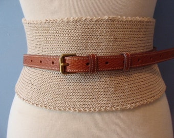 Vintage Wrap Belt Knit Leather Tan Brown Chic Statement Fabulous Unique Neutral Mullberry Company Made in England Size 32