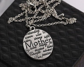 Silver Mom Mother Stamped Necklace pendent
