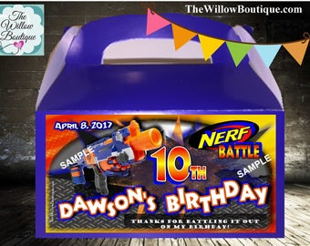 Personalized NERF Birthday Party Goody Box Loot Favors