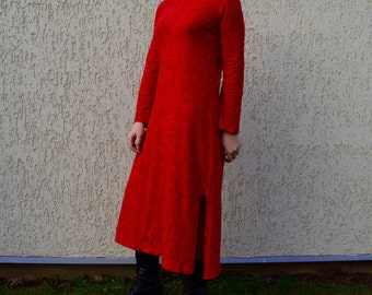Red MARIMEKKO Vintage Dress Ornament Romantic Midi Dress Maxi Dress Size S