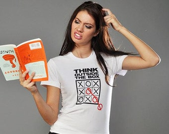 TIC TAC TOE Think Outside The Box ladies tee