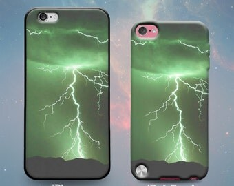 Lightning Bolts Green Sky Storm Clouds Rubber Case for iPhone 7 Plus iPhone 7 iPhone 6s 6 Plus iPhone 5s 5 5c iPhone SE iPod Touch