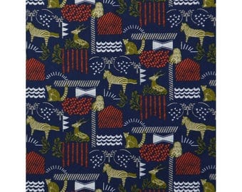 1/2 yard KOKKA Echino Cotton Linen Canvas| Habitat | 96700-702-B Jungle Blue Zebra Owl Raccoon