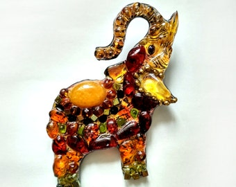 Amber elephant-handmade brooch from stones and beads