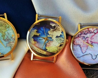 Custom Watch- Watch Women- Custom Watch Band- World Map Watch- World Watch- Made to Order Watch- Personalized Gift for Women- Custom Order