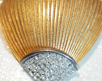 Vintage Charel Shell Goldtone and Rhinestone Pin Brooch