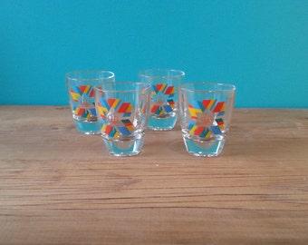 Set Of Four Olympics Shot Glasses