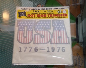 Vintage Iron On Transfer USA Stars and Stripes Bicentennial