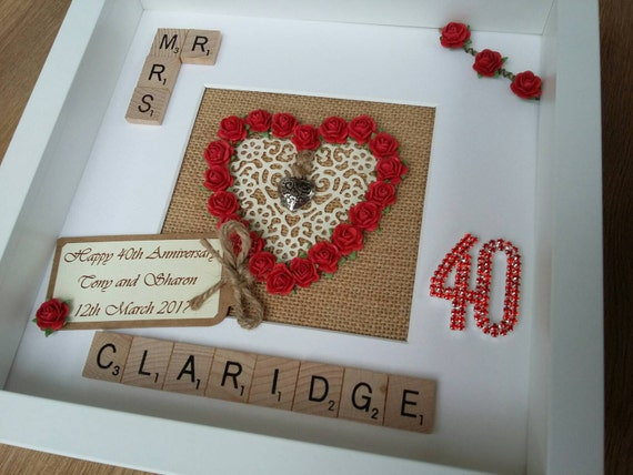 Ruby Wedding Gifts For Her: Personalised 40th Ruby Wedding Anniversary Gift,Engagement