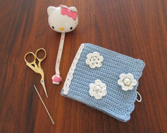 Needle book; crochet needle book; blue needle book, needle book flower