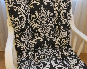 FREE SHIP Glider or Rocking Chair Cushions Set in Black and White Damask  Chair  PadsNursery rocking chair cushion   Etsy. Rocking Chair Cushion Sets For Nursery. Home Design Ideas