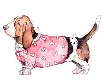 Little Illustration of Basset with Sweater | Watercolor | Drawing | Animal | Marie-Eve Arpin | Chien | Art | Cute | Deco