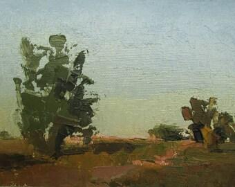 Summer Trees, Original plein air palette knife landscape painting on 4x6 canvas board.