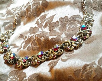 Coro necklace antique coro jewelry vintage coro necklace coro choker vintage costume jewelry rhinestone opalescent red gem necklave