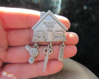 Vintage Signed JJ Beauty Shop Pin With Charms