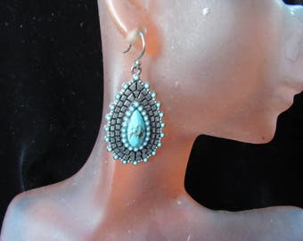 Vintage Pair Of Glass Faux Turq Pierced Dangle Earrings