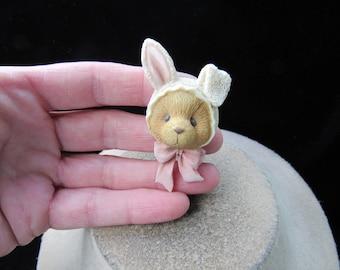 Vintage Ceramic Teddy Bear Dressed As Easter Bunny Pin