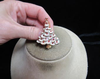 Vintage Christmas White & Red Glitter Enameled Tree Pin