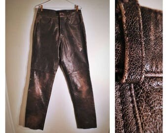 80s Wilsons Leather Experts brown distressed straight-legged leather pants