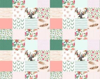 Quilt- woodland,  minky quilt, woodland nursery, baby boy nursery, adventure, modern nursery, baby girl
