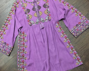 70's bohemian tunic mini dress hippie
