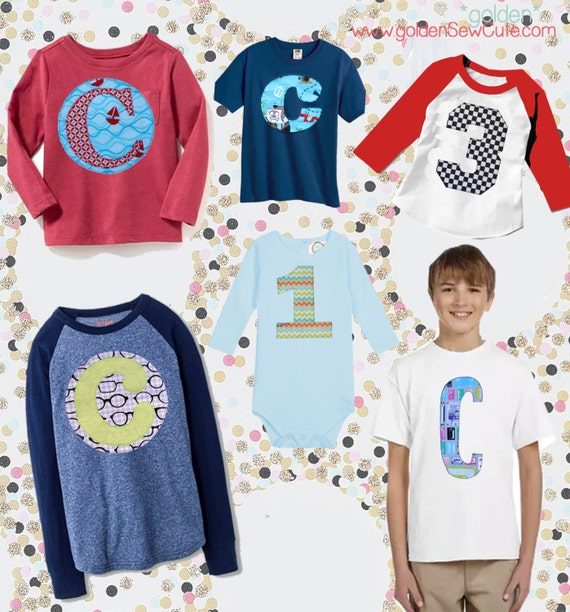 CYBER MONDAY SALE!  Applique Boy Tee, Boy Shirt, Baby Onesie, Baby Gown, Custom, Personalized, Initial, Circle, Flower