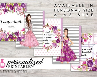 Printable Planner Dividers - A5 or Personal Size - Personalized - Set of 5 - Design: Chasing Dreams
