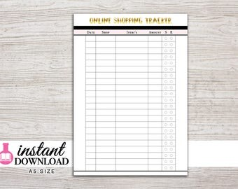 A5 Planner Printable - Online Shopping Tracker - Filofax A5 - Kikki K Large - Design: Goldie
