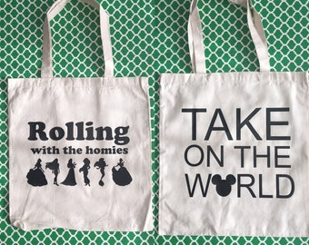 Any design in the shop on a tote bag.  Disney inspired totes.