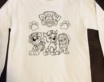 Paw Patrol Coloring T Shirt / Coloring T Shirt / Vinyl Coloring T Shirt / Kids T Shirt / Paw Patrol T Shirt / Custom T Shirt / Kids