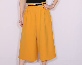 Mustard yellow pants Culottes High waist Wide leg capris with pockets