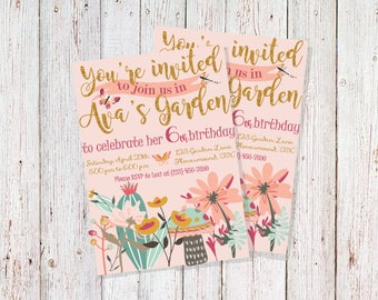 Flower Garden Party Invitation, Magical Garden Party, Floral Birthday Party, Pink and Gold Flower Party, Spring Birthday Party Invitations