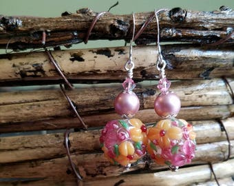 Pink and Marigold Floral Earrings