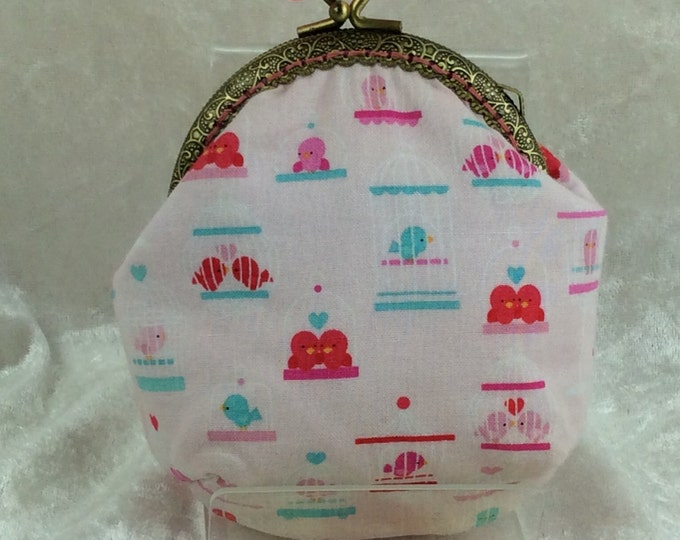 Love Birds Evie frame coin purse wallet hand stitched handmade in England