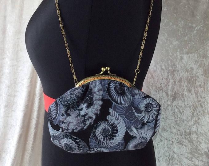 Alice Ammonite frame bag fabric small Frame handbag purse makeup bag handmade in England