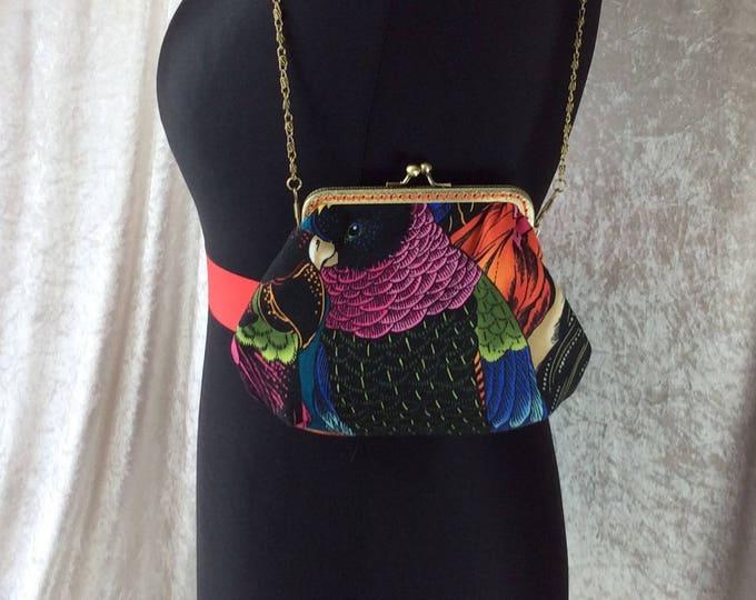 The Alice Birds of a Feather frame bag Alexander Henry design fabric small Frame handbag purse makeup bag handmade in England