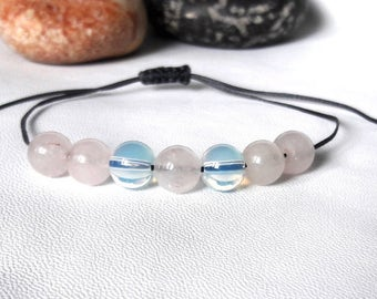 Moonstone Rose Quartz Yoga Bracelet love bracelet Fertility Bracelet simple bracelet Minimalist Jewelry Gift for girlfriend for wife for mom
