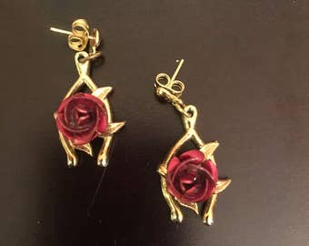Vintage Red Rose and Gold Wishbone earrings