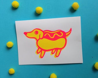 Hotdog Screenprint Greeting Card + Envelope