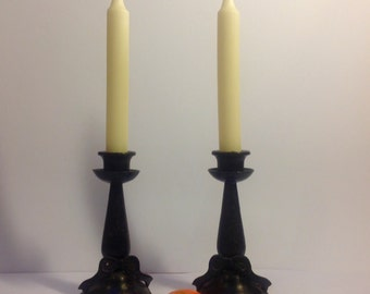 Pair of French black candle holders