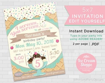 Printable Girl's Ice Cream Birthday Party Invitations, Ice Cream Party, Ice Cream Social Invitations, Edit Yourself, Instant Download