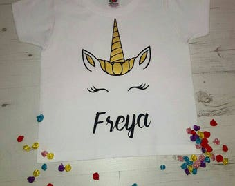 Unicorn tshirt for toddlers/children can be personalised with any name. Unicorn tee special gift for child.
