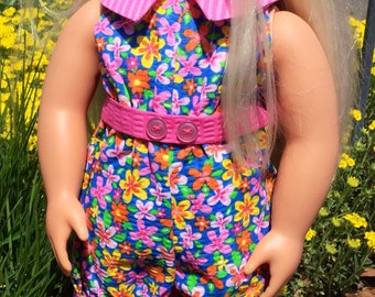 Summer jumpsuit for 18 inch dolls, fits 18 inch dolls like American Girl dolls, doll clothes, 18 inch doll clothes, doll outfit, dolls