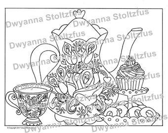 Tea Party Coloring Page PDF